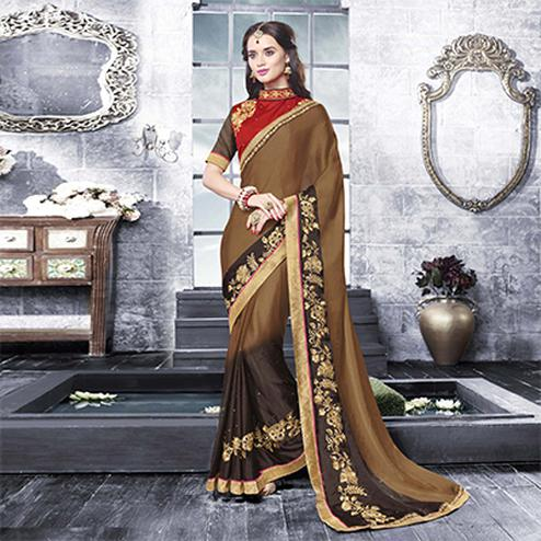 Imperial Brown - Black Embroidered Georgette Saree