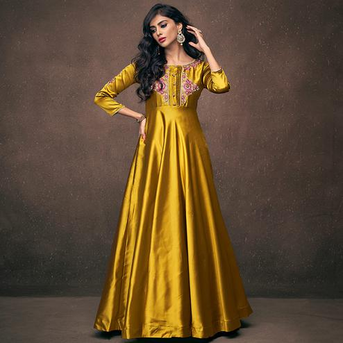 Exceptional Golden Yellow Colored Partywear Embroidered Silk Gown