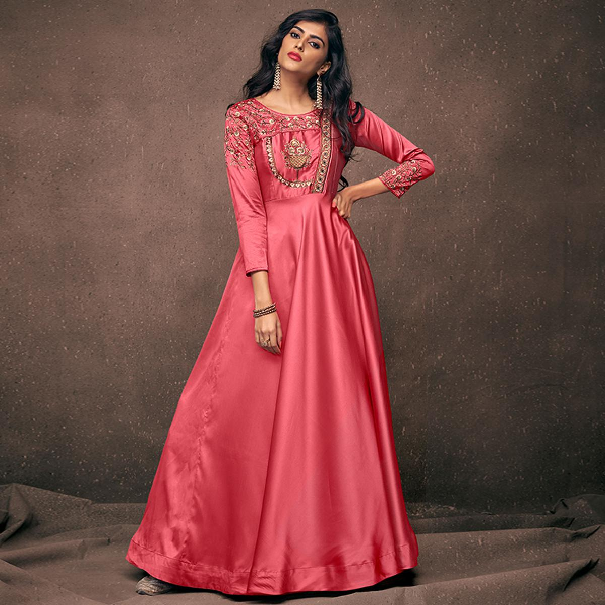 Stunning Pink Colored Partywear Embroidered Silk Gown