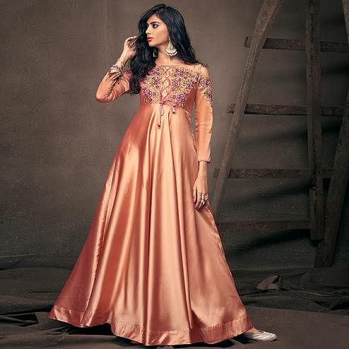 Impressive Peach Colored Partywear Embroidered Silk Gown