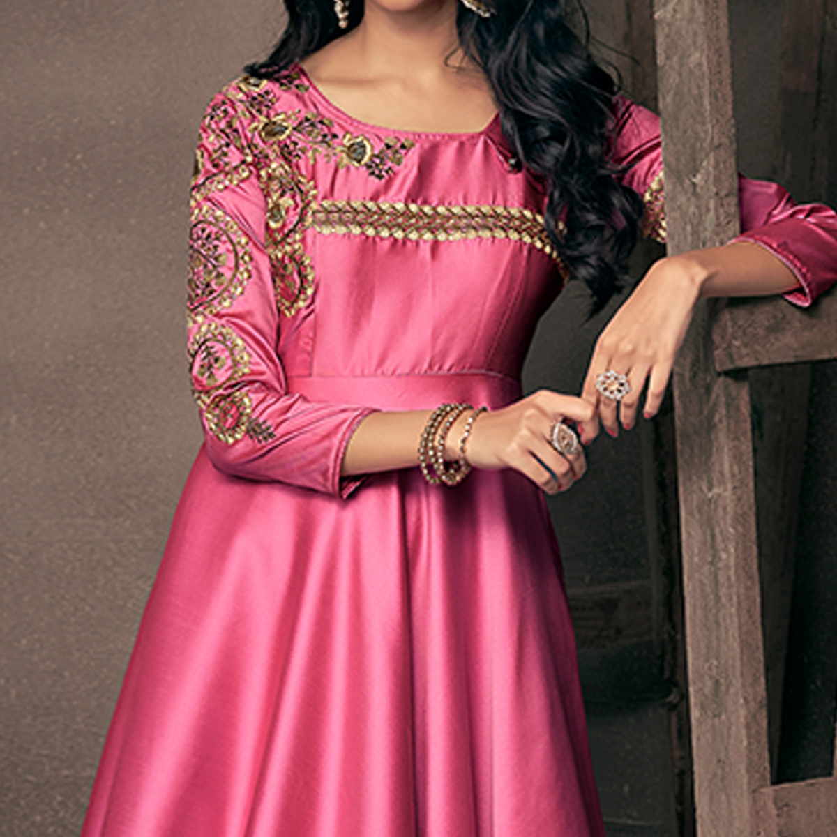 Fantastic Rose Pink Colored Partywear Embroidered Silk Gown