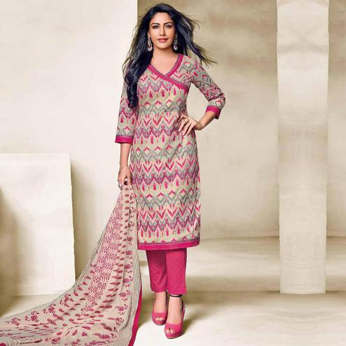 Intricate Multi Colored Casual Wear Printed Cotton Dress Material