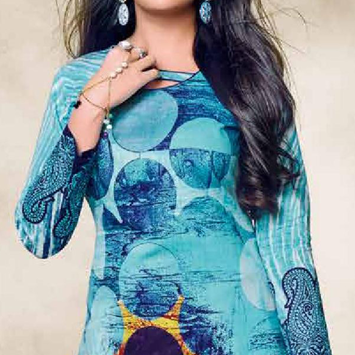 Trendy Blue Colored Casual Wear Printed Cotton Dress Material