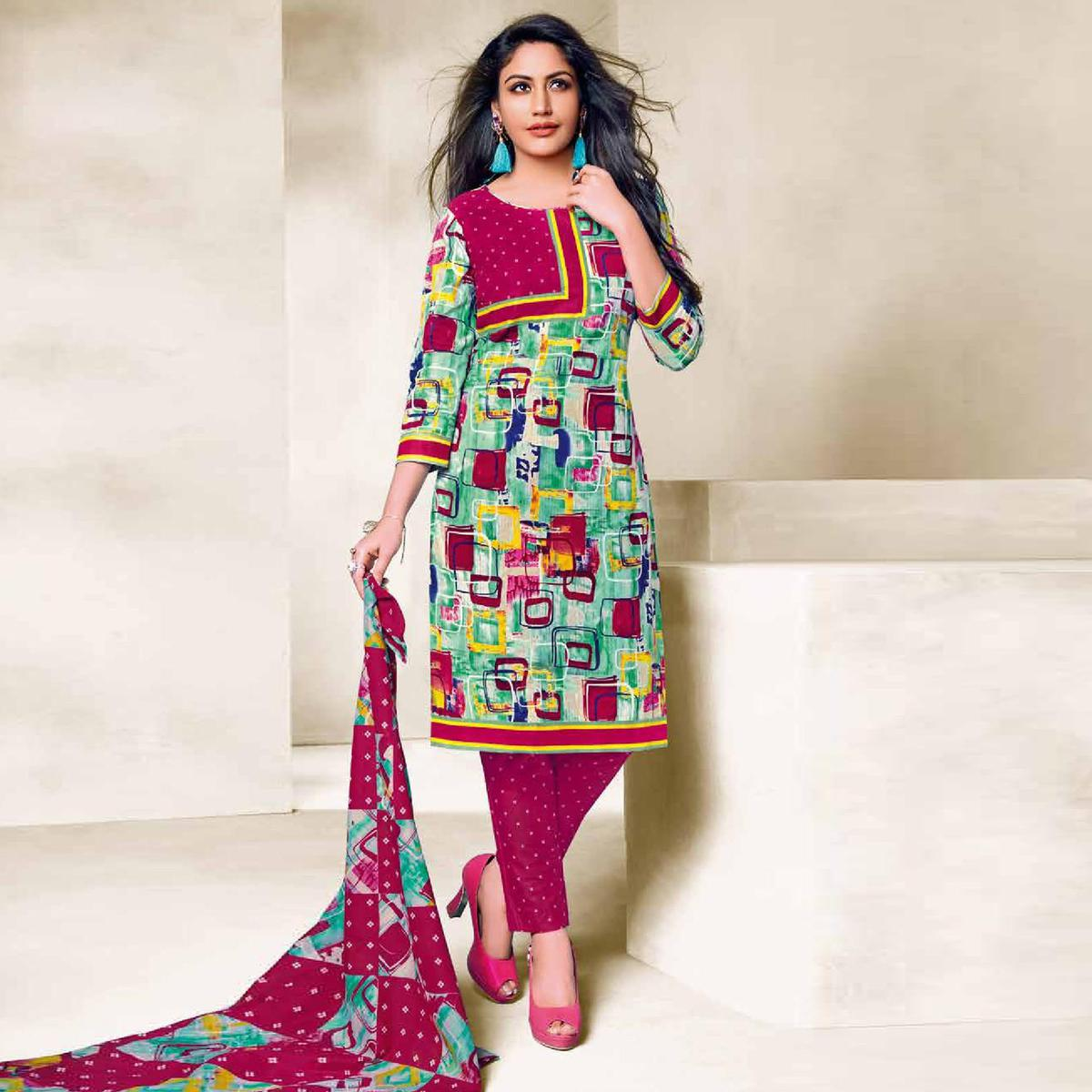 Gleaming Green Colored Casual Wear Printed Cotton Dress Material