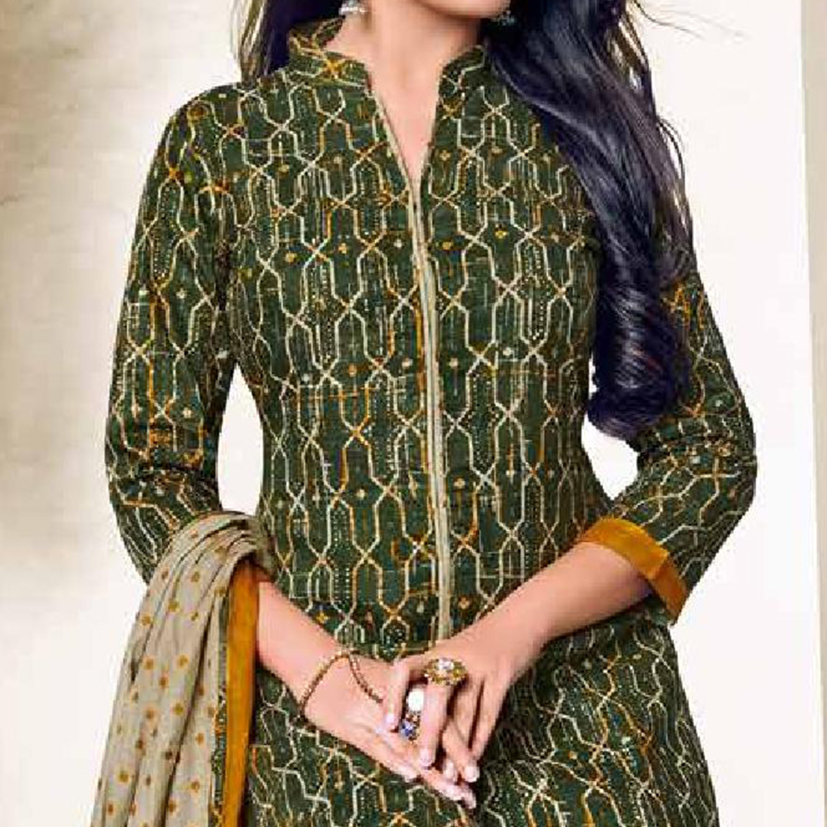 Demanding Green Colored Casual Wear Printed Cotton Dress Material