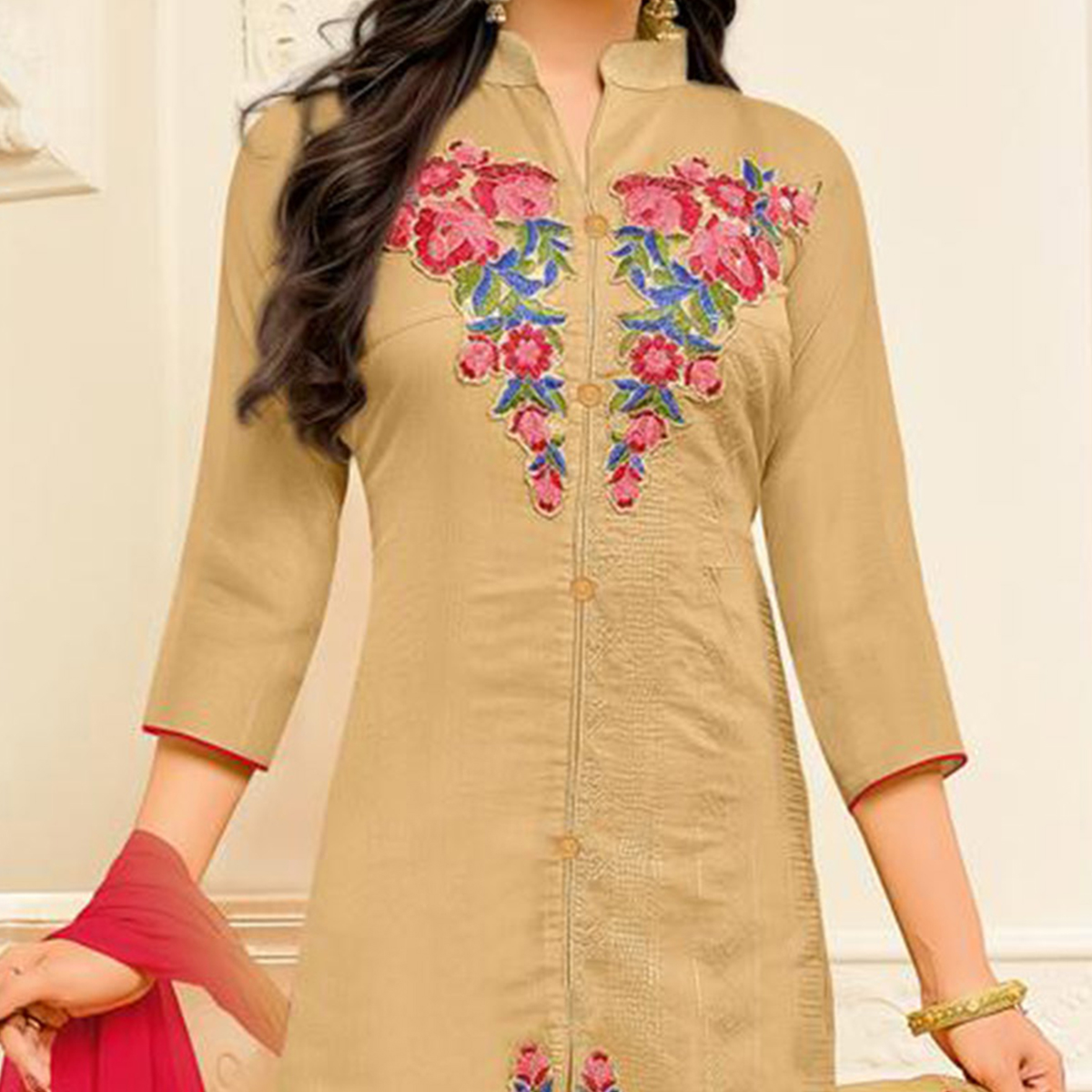 Beautiful Beige Designer Embroidered Partywear Cambric Cotton Salwar Suit