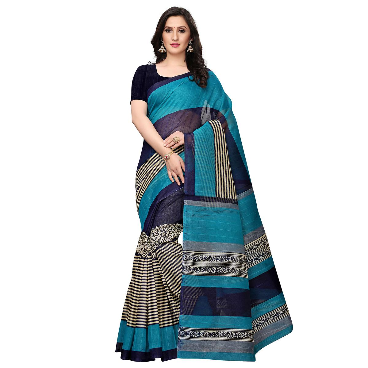 Flattering Teal-Navy Blue Colored Casual Printed Bhagalpuri Silk Saree