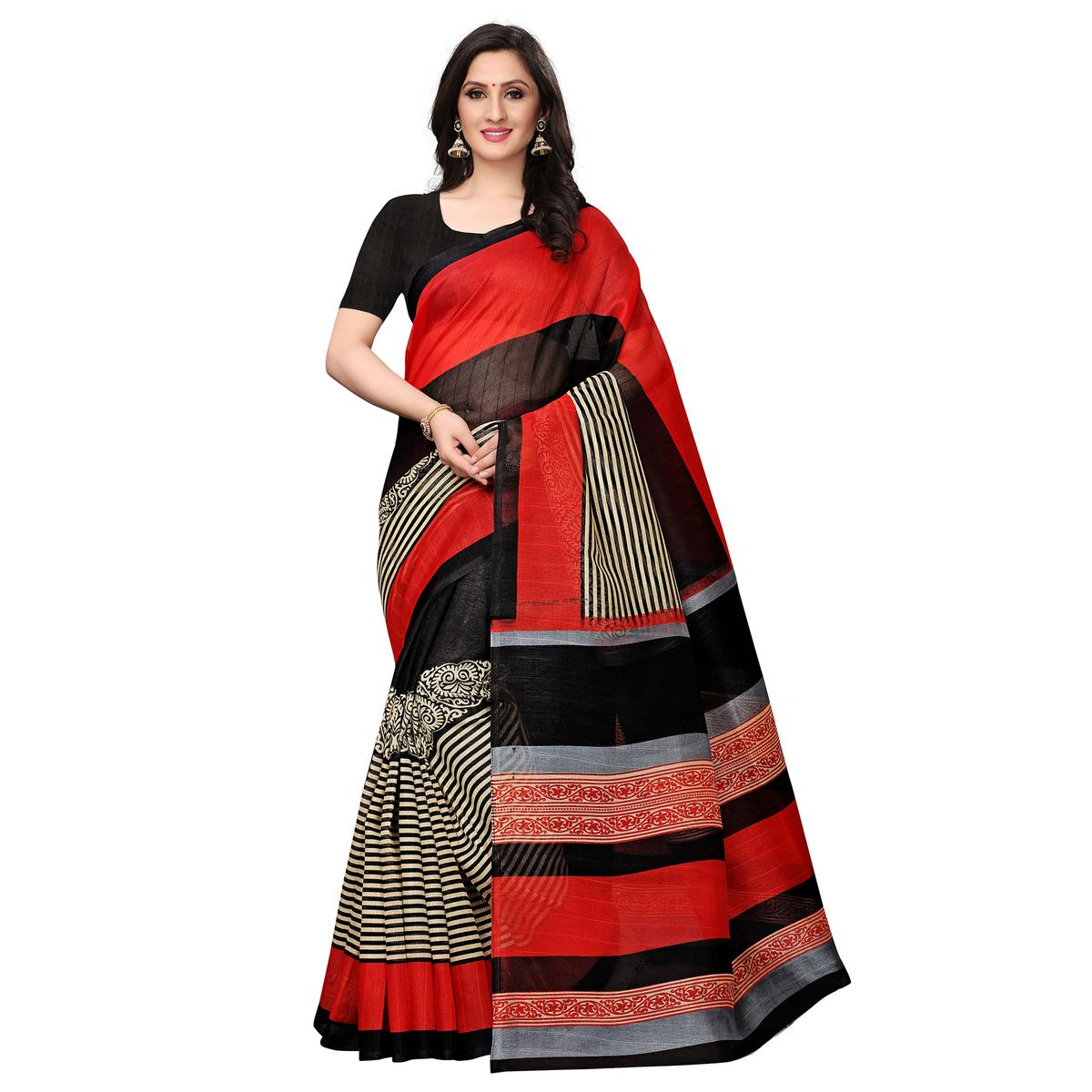 Radiant Red-Black Colored Casual Printed Bhagalpuri Silk Saree