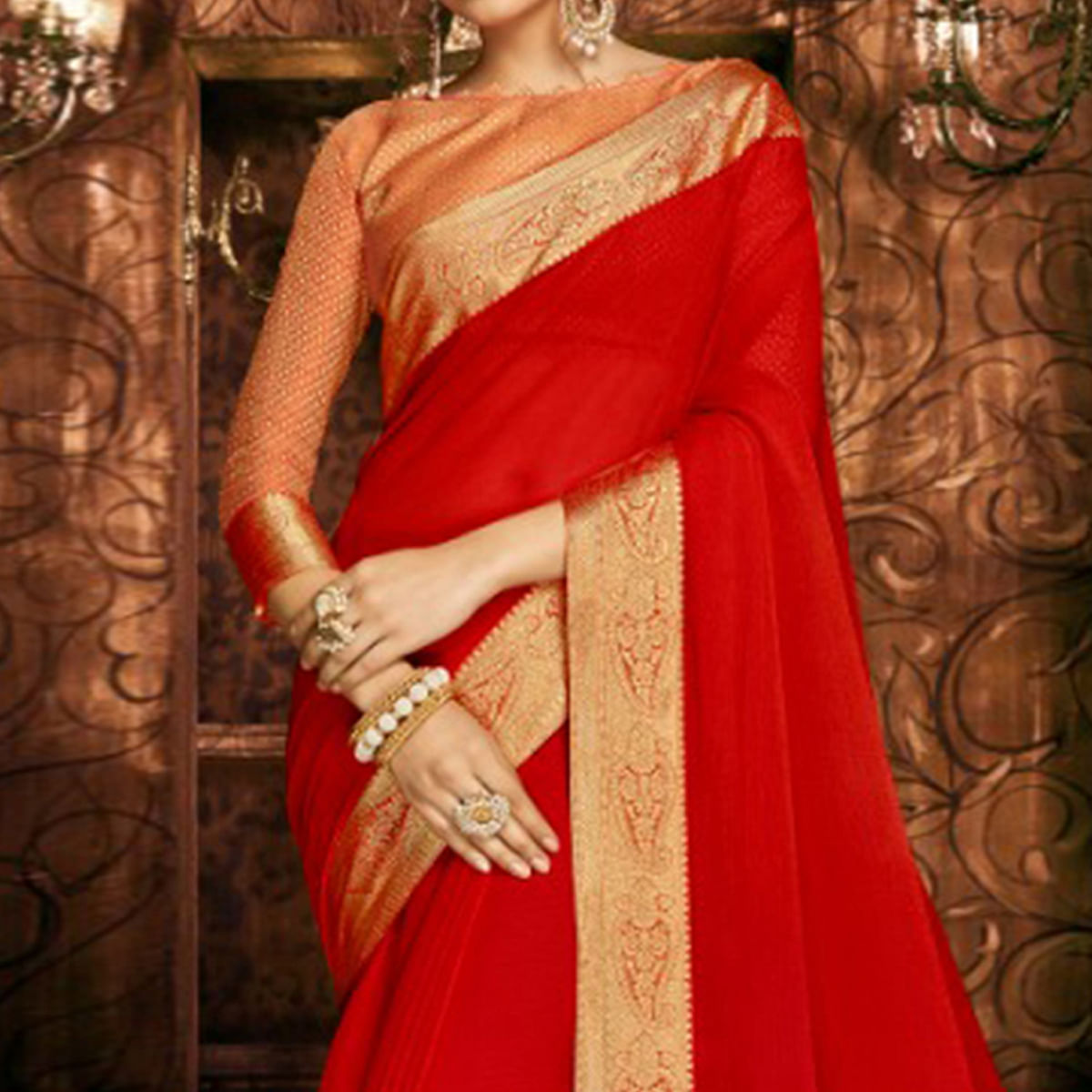Starring Red Colored Party Wear Woven Georgette Saree