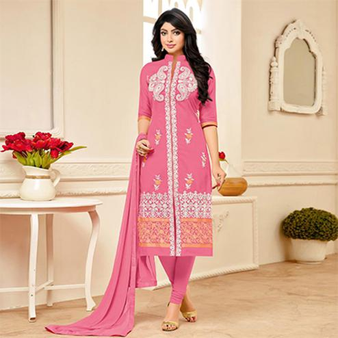 Pretty Pink Designer Embroidered Partywear Cambric Cotton Salwar Suit