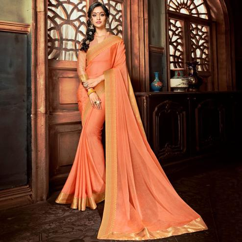 Exceptional Peach Colored Party Wear Woven Georgette Saree