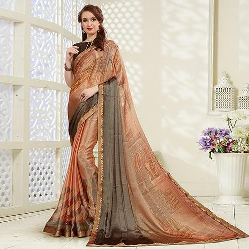 Mesmeric Light Brown Colored Casual Wear Printed Brasso Saree