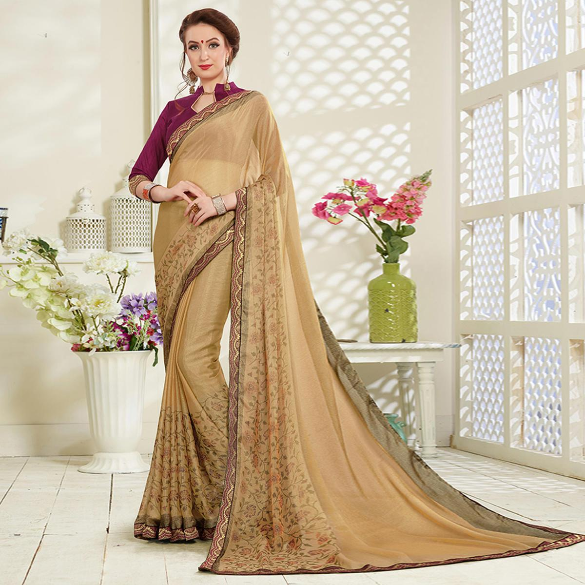 Refreshing Chiku Colored Casual Wear Printed Brasso Saree
