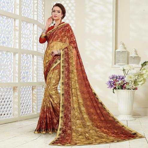 Magnetic Dark Beige - Red Colored Casual Wear Printed Brasso Saree