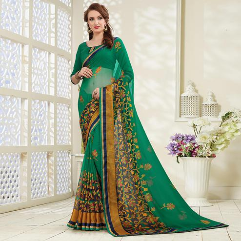 Hypnotic Green Colored Casual Wear Printed Brasso Saree