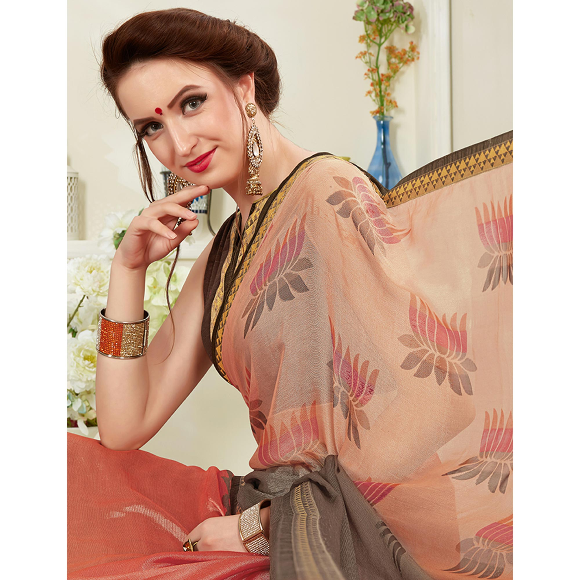 Elegant Peach Colored Casual Wear Printed Brasso Saree