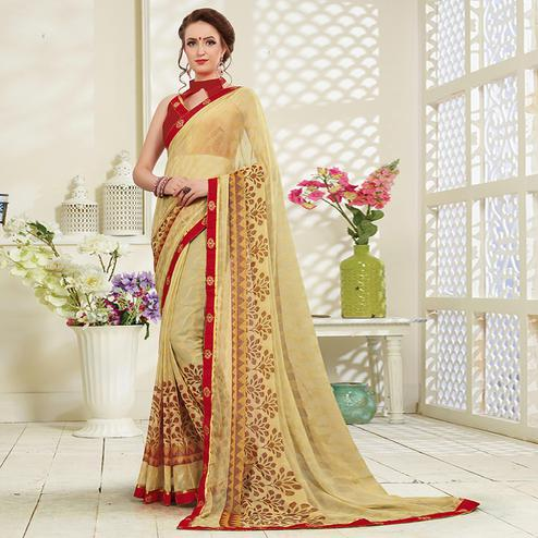Excellent Beige Colored Casual Wear Printed Brasso Saree