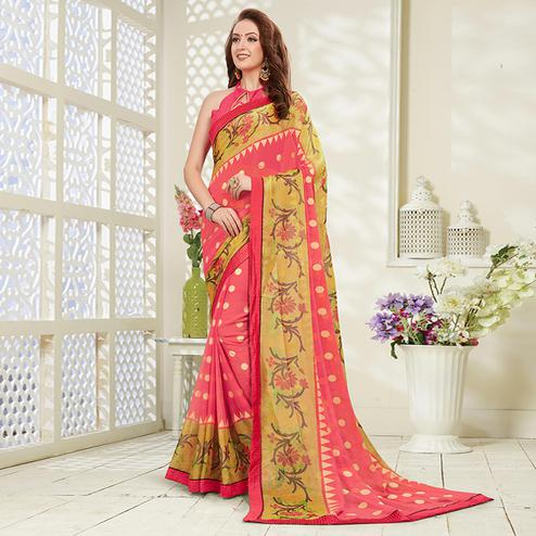 Breathtaking Pink Colored Casual Wear Printed Brasso Saree