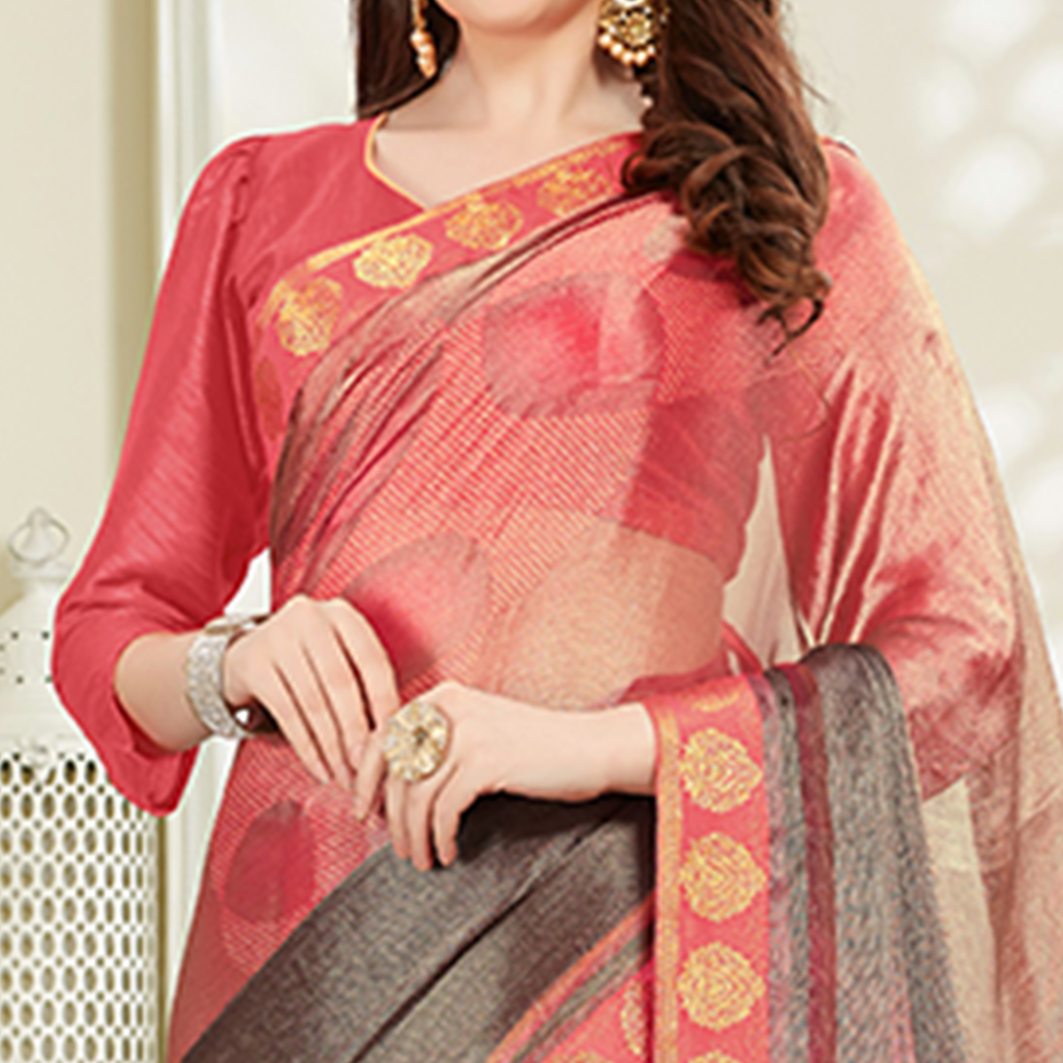 Impressive Pink - Grey Colored Casual Wear Printed Brasso Saree