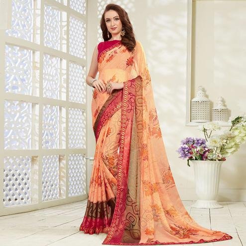 Flamboyant Peach Colored Casual Wear Printed Brasso Saree