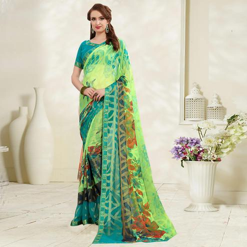 Ethnic Green Colored Casual Wear Printed Brasso Saree