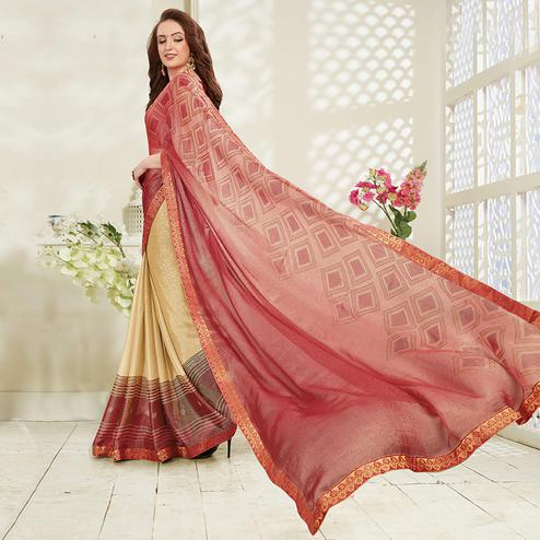 Alluring Cream - Pastel Red Colored Casual Wear Printed Brasso Saree