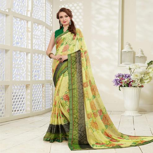 Sensational Yellow Colored Casual Wear Printed Brasso Saree