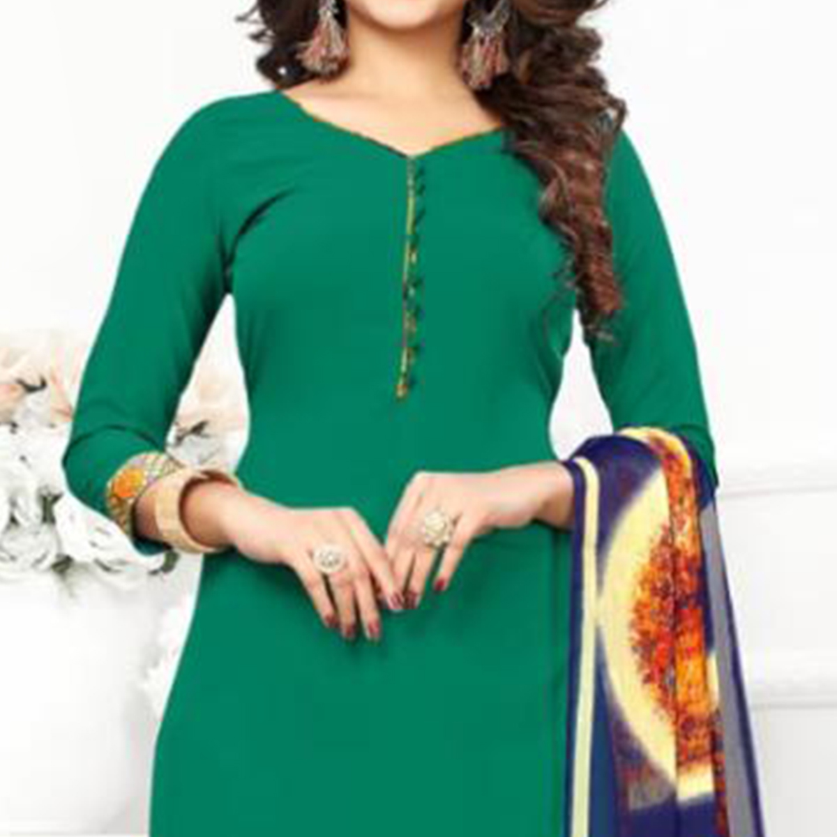 Gorgeous Green Colored Casual Wear Printed Crepe Patiala Suit