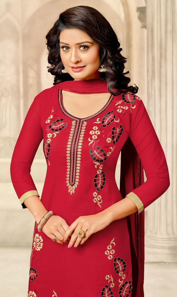 Hot Red Designer Embroidered Partywear Cambric Cotton Salwar Suit