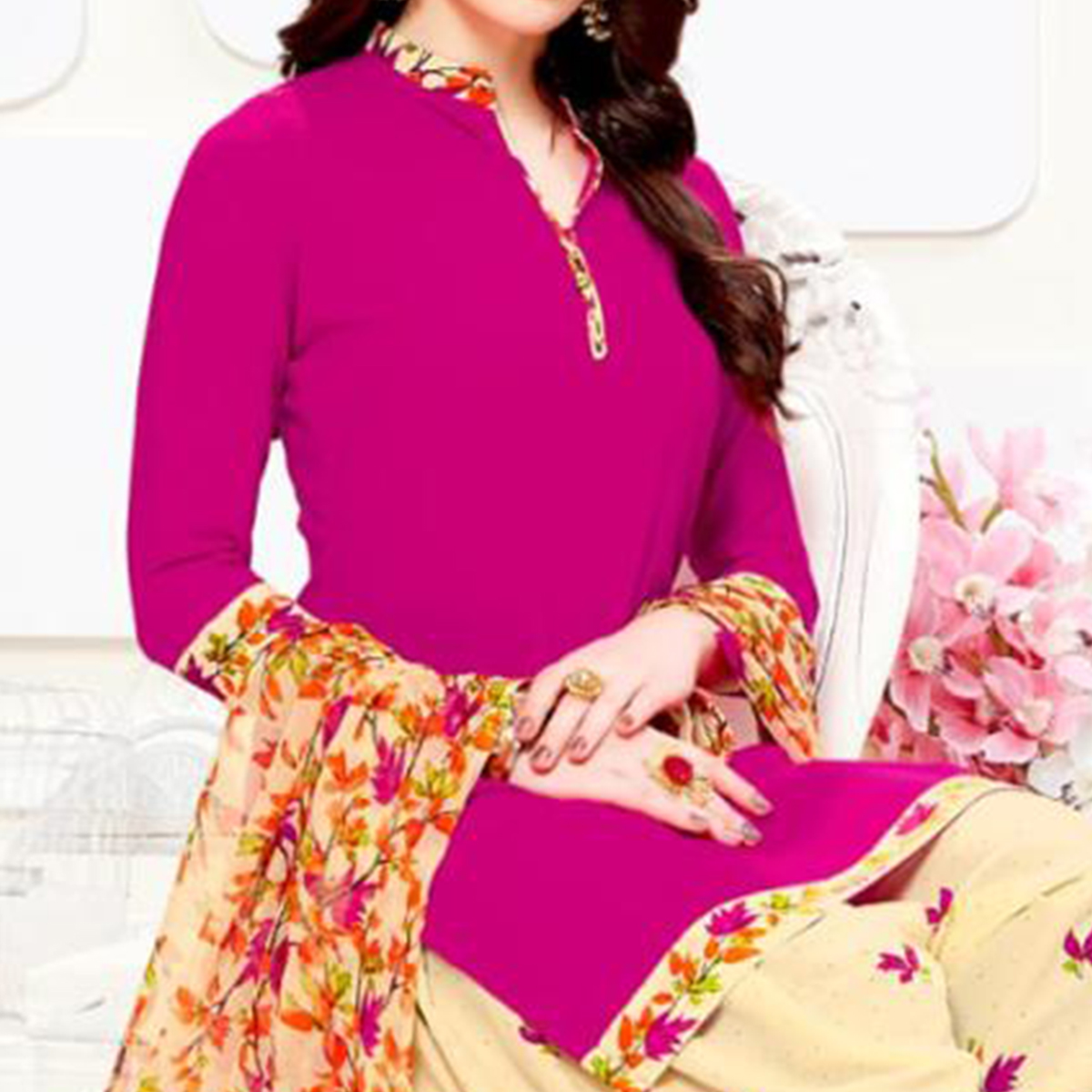 Ideal Magenta Pink Colored Casual Wear Printed Crepe Patiala Suit