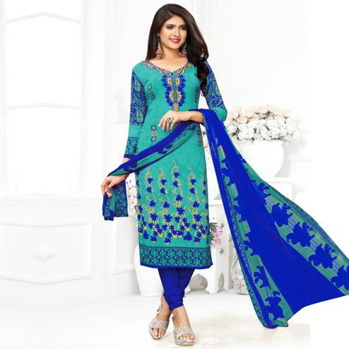 Imposing Turquoise Blue Colored Casual Wear Printed Crepe Dress Material