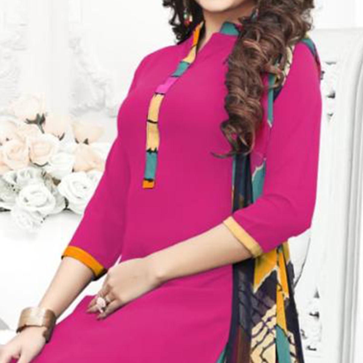 Lovely Deep Pink Colored Casual Wear Printed Crepe Patiala Suit