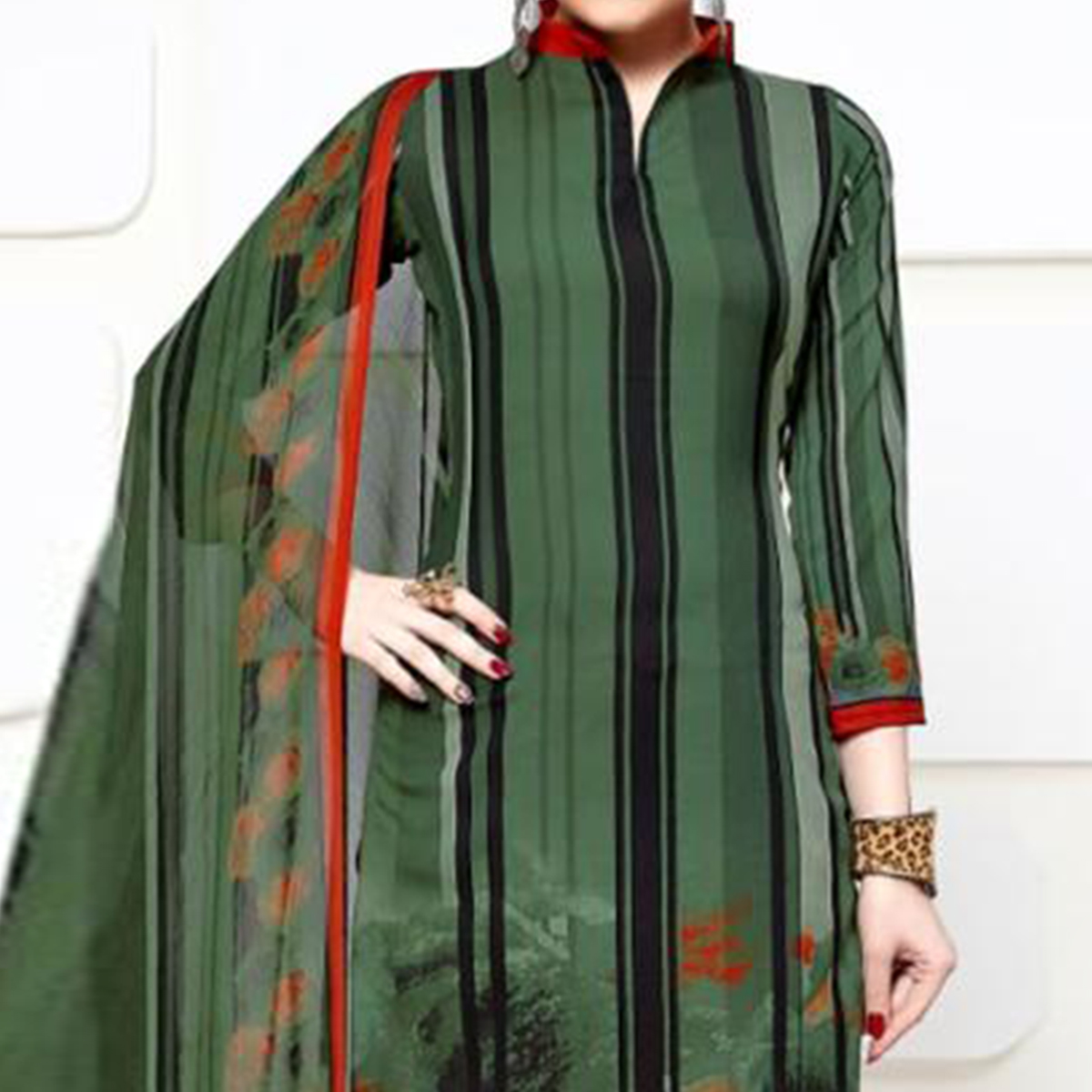 Majesty Olive Green Colored Casual Wear Printed Crepe Dress Material
