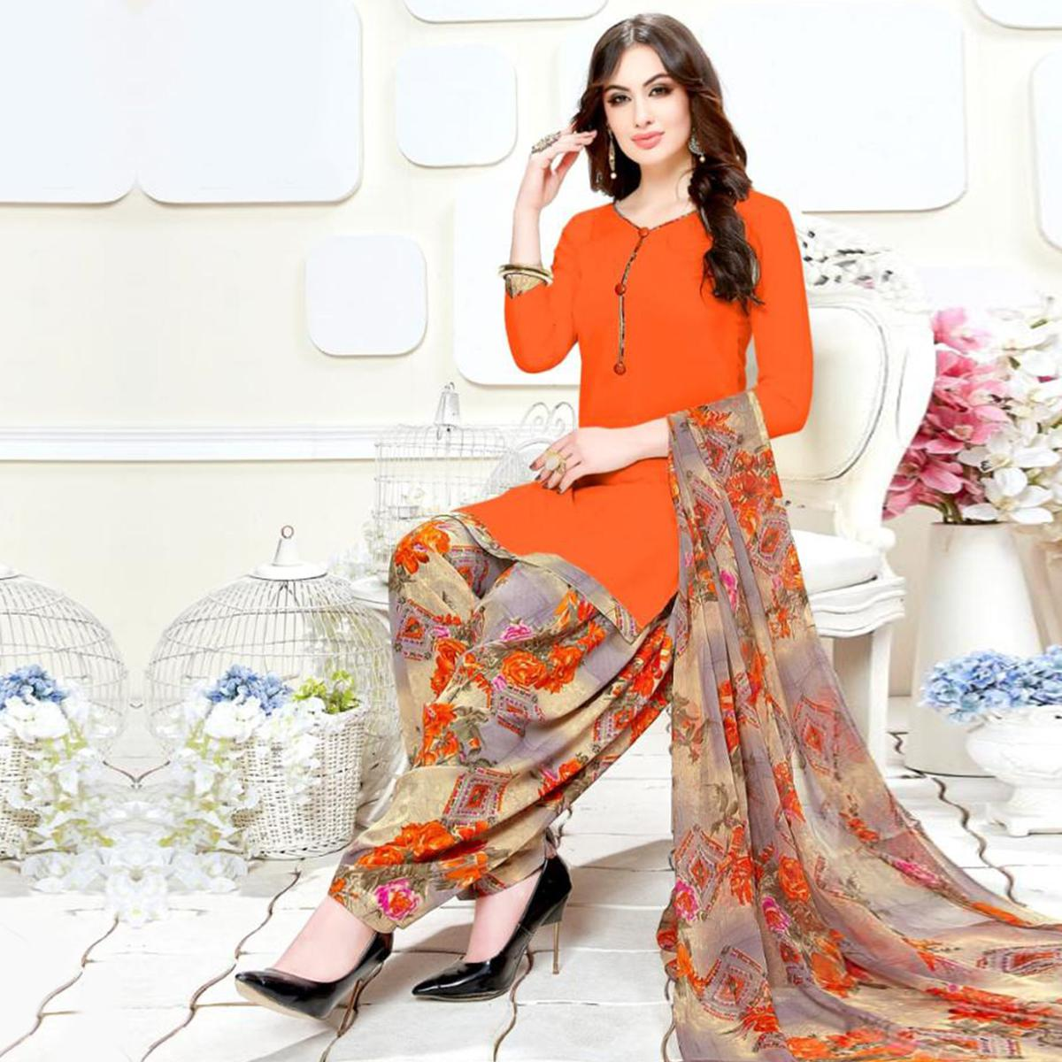 Marvellous Orange Colored Casual Wear Printed Crepe Patiala Suit