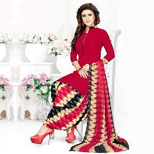 Mesmerising Red Colored Casual Wear Printed Crepe Patiala Suit