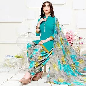 Pleasance Turquoise Blue Colored Casual Wear Printed Crepe Patiala Suit