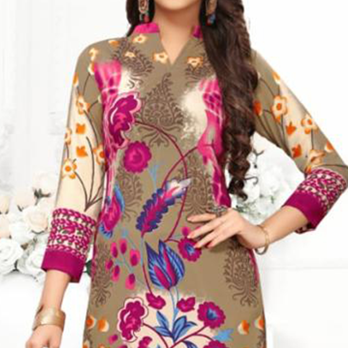 Preferable Light Brown Colored Casual Wear Printed Crepe Dress Material