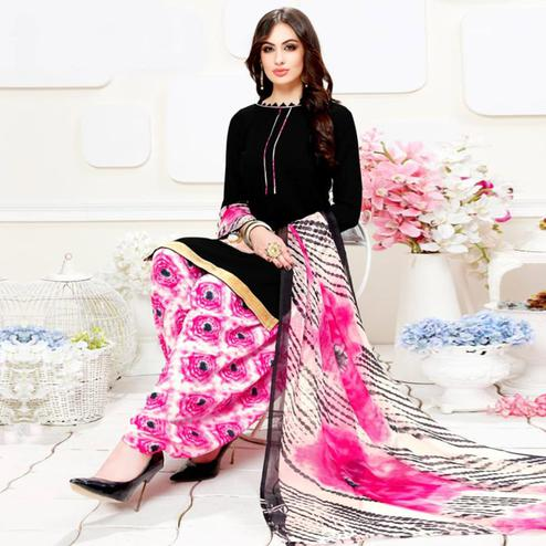 Pretty Black Colored Casual Wear Printed Crepe Patiala Suit