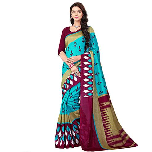 Sky Blue - Magenta Printed Saree