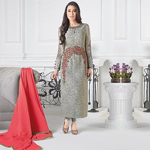 Eye Catching Grey Georgette Embroidered Designer Suit