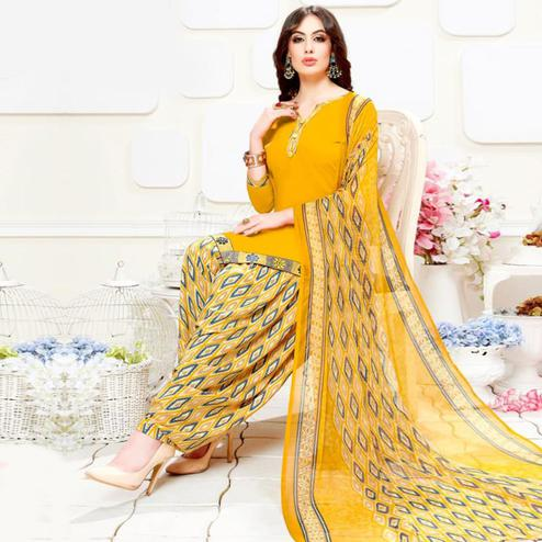 Surpassing Yellow Colored Casual Wear Printed Crepe Patiala Suit