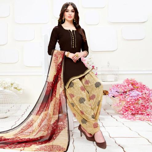 Intricate Dark Brown Colored Casual Wear Printed Crepe Patiala Suit