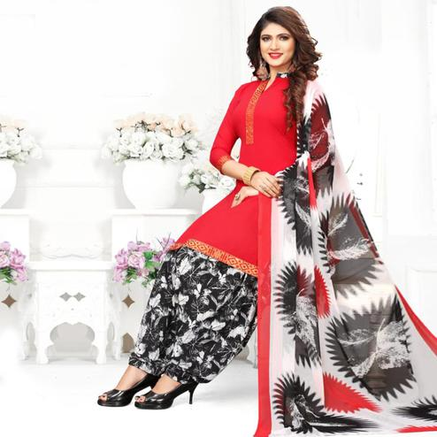 Desirable Red Colored Casual Wear Printed Crepe Patiala Suit