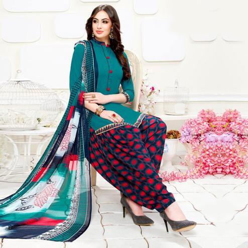 Starring Teal Blue Colored Casual Wear Printed Crepe Patiala Suit