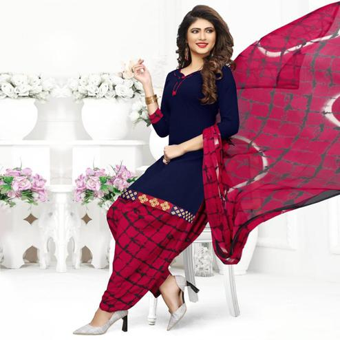 Trendy Navy Blue Colored Casual Wear Printed Crepe Patiala Suit