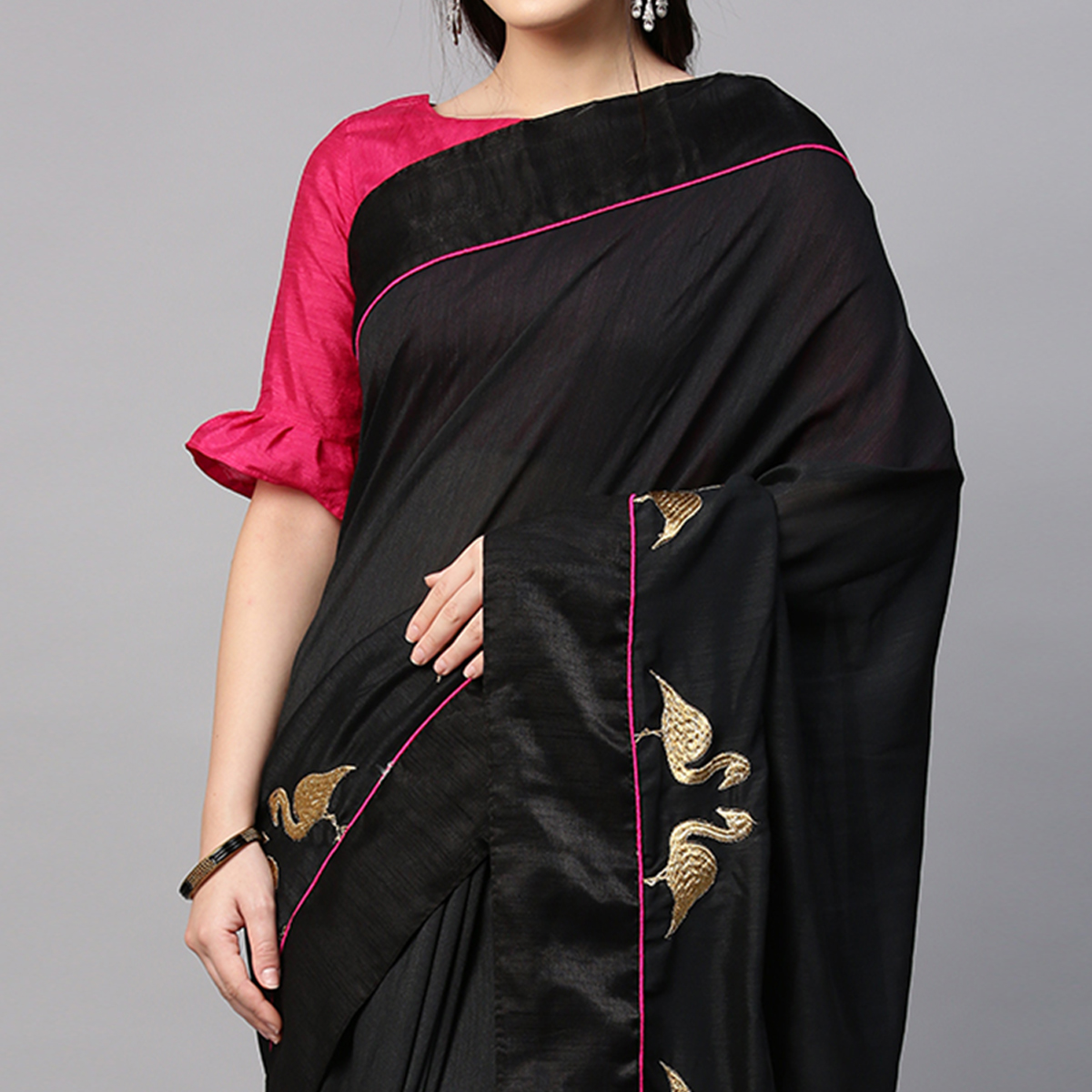 Flaunt Black Colored Embroidered Party Wear Silk Blend Saree