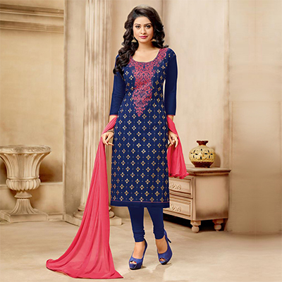 Dazzling Blue Designer Embroidered Partywear Cambric Cotton Salwar Suit