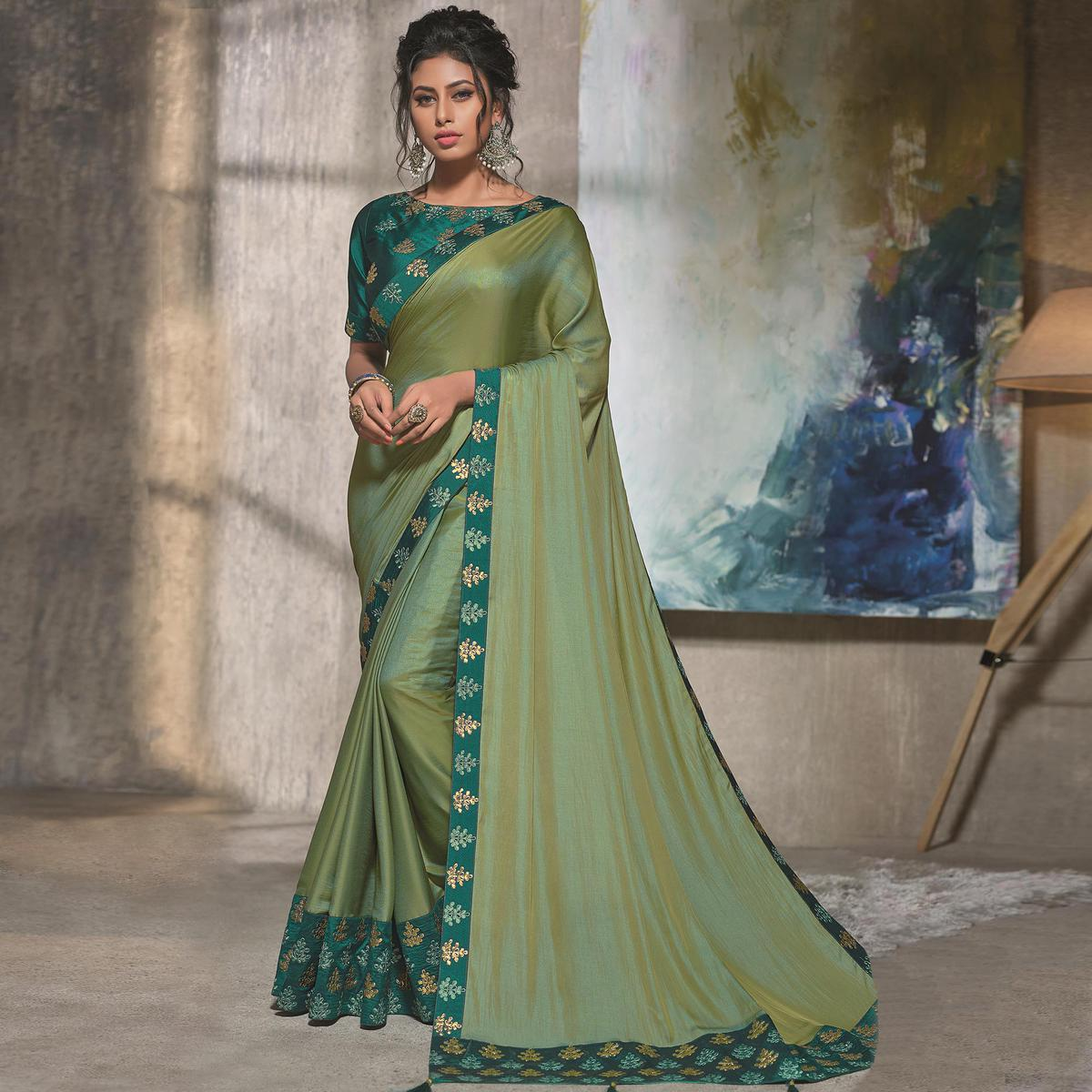 Prominent Olive Green Colored Party Wear Embroidered Silk Saree