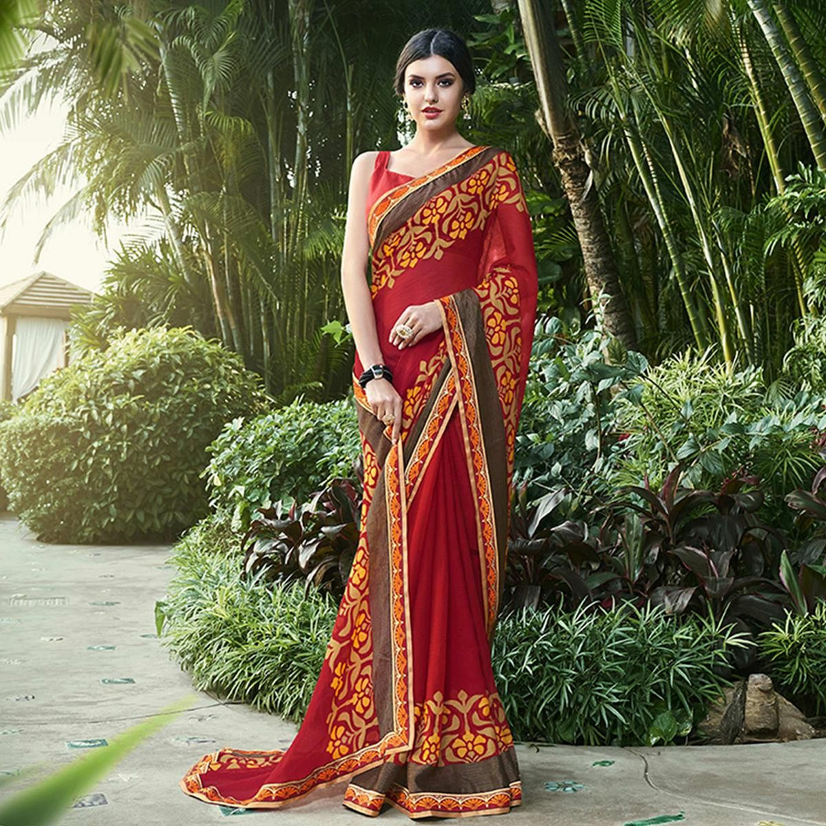 Refreshing Red Colored Party Wear Printed Chiffon-Brasso Saree