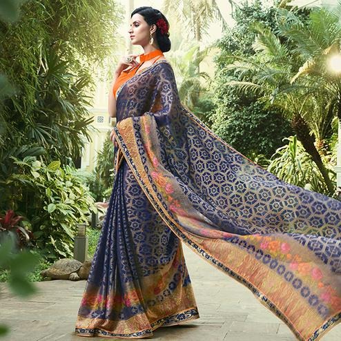 Magnetic Navy Blue Colored Party Wear Printed Chiffon-Brasso Saree